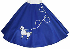 "Blue FELT 50s Poodle Skirt _ Adult Size SMALL _ Waist 25""- 32"" _ Length 25"""