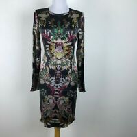 Marco Bologna Dress Size 40 Silk Black Gold Long Sleeve Jewels Sheath Womens