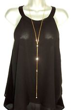 Gold Rhinestone Lariat Necklace LONG Y Drop Chain Lariat Simple Dainty