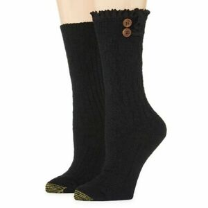 GOLD TOE boot 2-pack cable knit buttons cozy women's socks - BLACK- Size 6-9