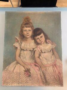 grand tableau 1898 Signature Inconue 2 Jeunes Filles Huile Sur Toile