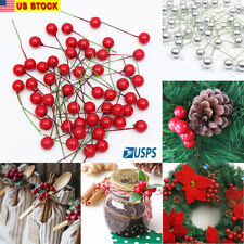 Artificial Red Holly Berry Ornament Diy Craft Accessories Christmas Tree Decor