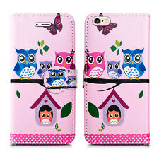 Leather Luxury Wallet Book Flip Phone Protect Case for Apple iPhone 6 6s Owl Family - Many Owls Group Lots Bird Wildlife