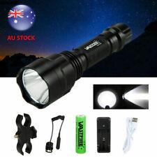 5000LM XM-L T6 LED White Flashlight Light Scope Mount Gun Torch +Pressure Switch