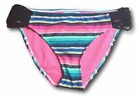 SO Juniors Size XS S L XL Bright Pink Striped Tribal Print Bikini Bottom Swim