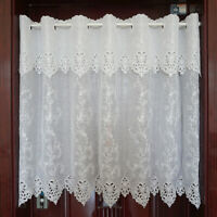 Embroidered Floral White Curtain Room Diviver Kitchen Lace Sheer Cafe Home Decor