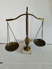 Scales of Justice Movie Prop Vintage Brass Scale With Marble And Brass Japan