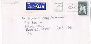 DB996) Nice solo Airmail cover, AAT HV to UK , Antarctic, King Penguin. $6.00