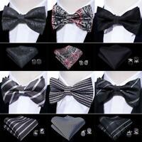USA Black Bowtie Set Silk Mens Solid Paisley Striped Plaid Pretied Wedding Party