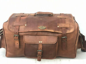 "30"" Men's Full Waxed Goat Leather Travel Gym Luggage Bag Genuine Vintage Duffel"