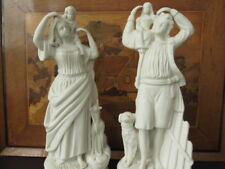 Pair Of Victorian Parian Ware Statues, Man and Woman Carrying Their Children