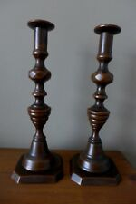Antique Bronze Decorative Candlestick Holder Pair Collector Home Cottage 07-02