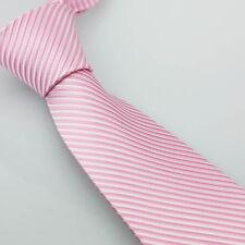 Coachella Men's Ties Pink White Diagonal Stripes Necktie Microfiber Formal Tie