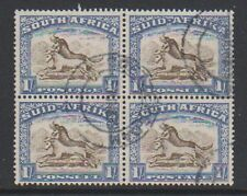 South Africa - 1939, 1s Brown & Chalky Blue - Block of 4 - F/U - SG 62