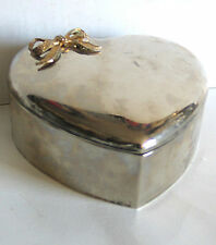 "Silver Plate Valentine Heart Shaped Trinket Box applied Gold Bow 5"" FREE SH"