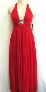 DE LARU..MAXI..FULL LENGTH..LOW CUT..HALTER..RED..DRESS..NEW $150..sz 3