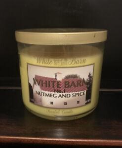 White Barn No.1 Candle Nutmeg and Spice 14.5 oz Bath Body Works 3 Wick Unused