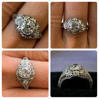 Art Deco 3.25Ct Diamond Vintage & Antique Engagement Fine Ring in 14k White Gold