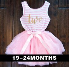 Baby Girls Second 2nd Birthday Outfit Tutu Skirt Dress Pink Party Two