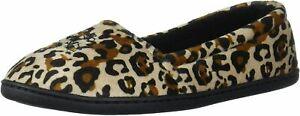 Dearfoams Women's Memory Foam Leopard Velour Closed Back Slipper M 7-8