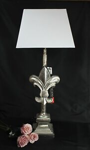 Elegante Colmore Lamp French Lily Alu Silver Lampshade White Height 74cm
