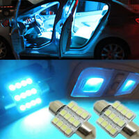 2x Ice Blue 31mm 12 SMD LED 5050 Bulbs For Car Interior Dome Map Door Light