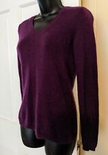 Ann Taylor 100% Cashmere Sweater Petite Small Purple V Neck Pullover Jumper