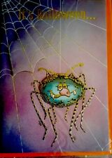 Vintage HALLOWEEN Spider & Web GREETING CARD New 3D Card With Envelope FREE SHIP