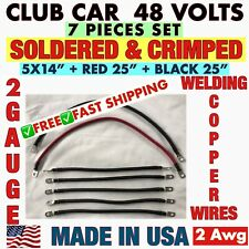 Club Car Ds Golf Cart 48 volts Battery Cables 7 pcs set heavy duty 2 gauge 2 Awg