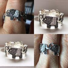 Elephant Ring Silver Tone Rhinestones Band Style Size 7 Animal