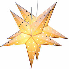 Twinpack White Christmas Paper Star 5 Leaf 'Star Cutting' 24 Inches with 10 LED