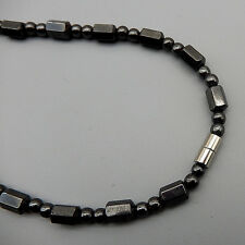 "Men Womens Black Hematite Beads Strand Choker Necklace 18"" Magnet Clasp"
