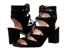Nine West 'Take It Up' Ghillie Sandal 8 Lace-up Black Suede Block Heel New