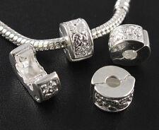 Lots 10pcs Charms Silver Stopper Beads Clips Locks Fit Bracelet Jewelry Findings