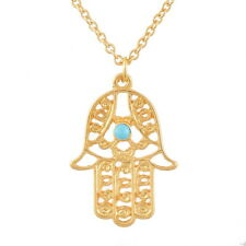 BD Good Luck Hamsa Fatima Hand Evil Eye Gold Pendant Necklace Chains Findings