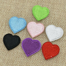 10pcs Pink Love Heart Embroidered Patch Iron on for Clothing Applique Sticker