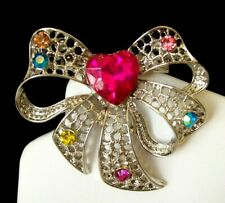 w/Pink Heart & Colorful Crystals Pretty Textured Silver-Tone Bow Pin/Brooch