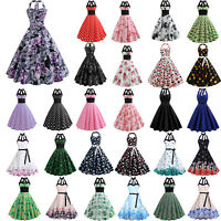 Women Vintage 50s 60s Rockabilly Evening Party Cocktail Retro Swing Skater Dress