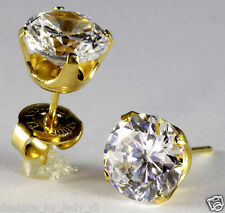 "Ear Piercing Earrings Gold 8mm Clear CZ Cubic Zirconia Studs ""Studex System 75"""