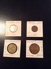 1949 Belgique 5 FR & 1955 50 Centimes--1970 Mexico 20 Centavos--1965 Chile 10 C.