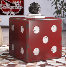 TWO Modern FARMHOUSE RESTORATION END TABLE VEGAS DICE STOOL Antiqued