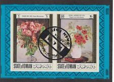 Oman - Flower Paintings. Imperf Souvenir Sheet. Cancelled.  #02 OMANFP