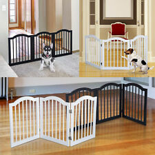 3 Panels Dog Gate Pet Cat Fence Safety Barrier Divider Freestanding Doorway Wood