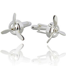 Mens Spinning Cufflinks - Fancy Wedding Novelty - Boat Propellor Cuffs in Silver