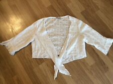 Per Una Circle Detail Cropped Frilled Edged White Tie Front Cardigan Size 18