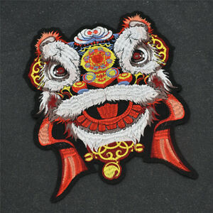 Dancing Lion Tiger Animal Patches Iron On Large Applique Clothes Craft Sew on