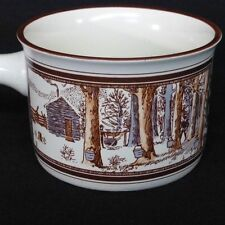 1904 Soup Mug Watkins Almanac March Collectible Farm Scene Vibrant Brown Trim
