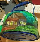 Vintage Hand Painted, LARGE Tin Tea Kettle Country Scene, teapot