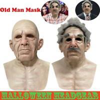 Old Man Mask Realistic Halloween Latex Creepy Wrinkle Face Mask Novelty Costume