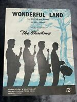 Vintage Sheet Music - Wonderful Land by The Shadows - For Guitar And Piano by Je